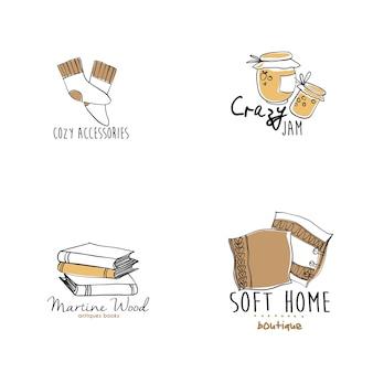 Modelos de logotipo de mão desenhada