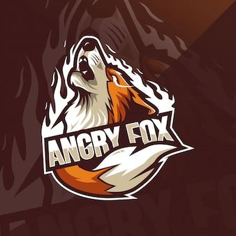 Modelos de logotipo de mascote fox irritado