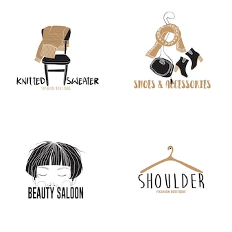 Modelos de logotipo de moda mão desenhada