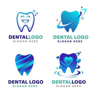 Modelos de logotipo dentário gradiente
