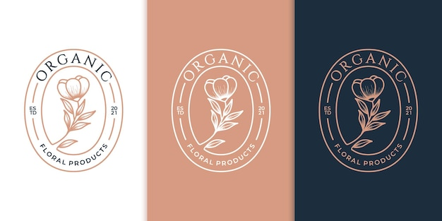Modelos de logotipo do emblema flor rosa salão de beleza de luxo