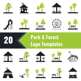Modelos de logotipo do parque e floresta