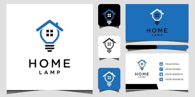 Modelos de logotipo e design de cartão de visita home lamp