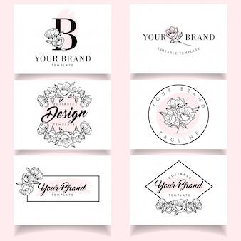Modelos de logotipo feminino minimalista conjunto com cartão elegante