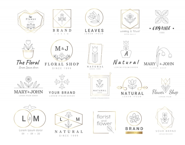 Modelos de logotipo floral premium
