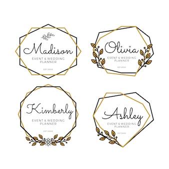Modelos de logotipo geométrico para planejador de casamento