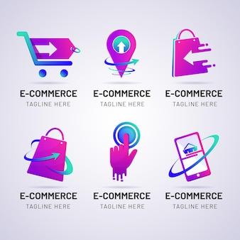 Modelos de logotipo gradiente de comércio eletrônico