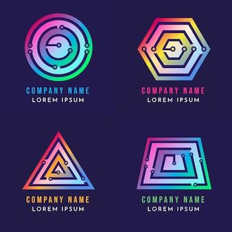 Modelos de logotipo gradiente de eletrônicos
