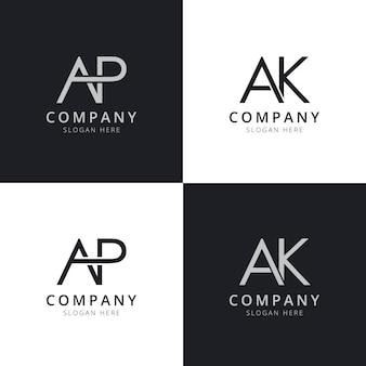 Modelos de logotipo inicial da carta ap ak