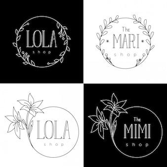 Modelos de logotipo para lojas de flores e boutiques femininas