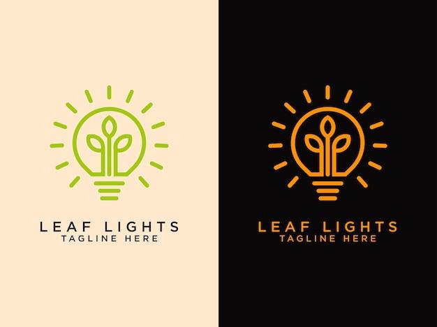 Modelos de logotipos de folhas criativas crescem um pouco em lâmpadas