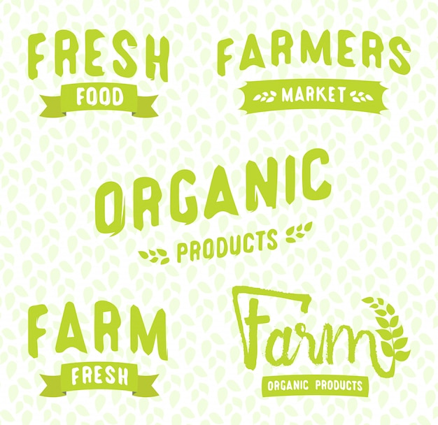 Modelos de logotipos de mercado do fazendeiro vector conjunto de objetos. etiquetas do alimento do vetor para o restaurante do vegetariano.