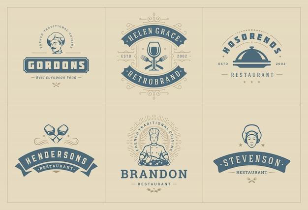 Modelos de logotipos de restaurante definir ilustração boa para etiquetas de menu e café emblemas.