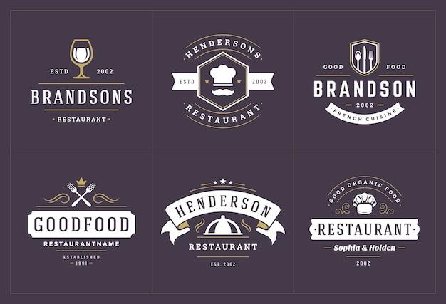 Modelos de logotipos de restaurante definir ilustração boa para rótulos de menu e emblemas de café.