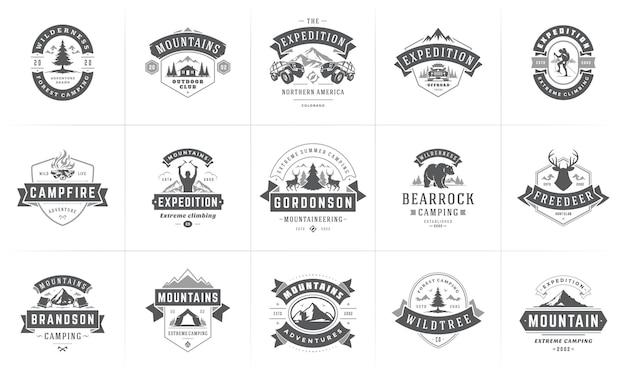 Modelos de logotipos e emblemas de camping, elementos de design vetorial e conjunto de silhuetas