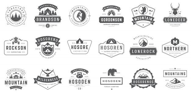 Modelos de logotipos e emblemas de camping