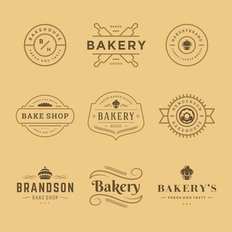 Modelos de logotipos e emblemas de padaria definir ilustração. bom para emblemas de padarias e cafés.