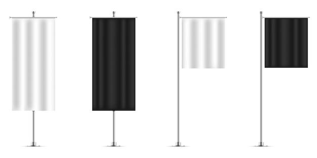 Modelos de maquete de bandeira de banner preto e branco. conjunto de sinalizadores.