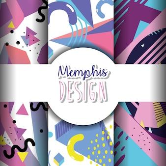 Modelos de memphis e design colorido de fundos