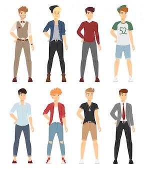 Modelos de menino de moda bonito dos desenhos animados vetor olhar em pé