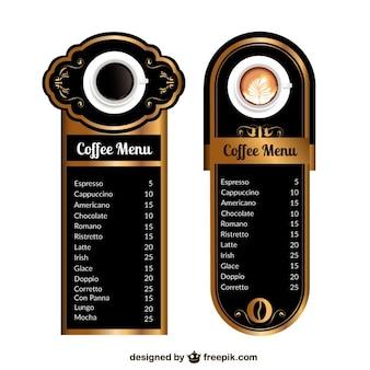 Modelos de menu de café