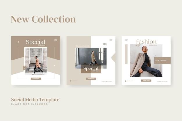 Modelos de mídia social de moda minimalista