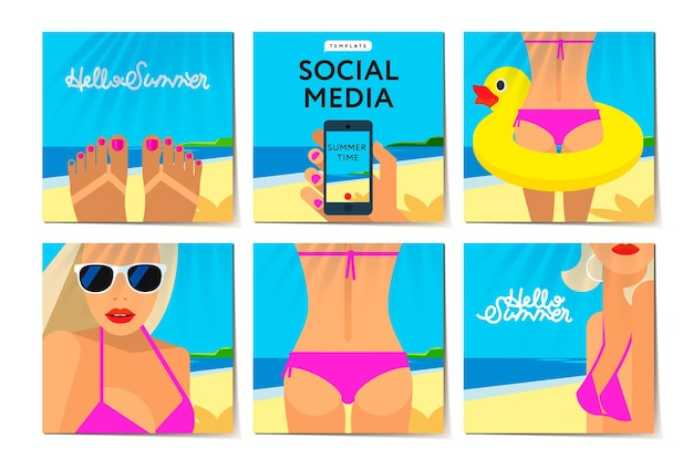 Modelos de mídia social, horário de verão, férias e férias na praia banner moderno de promoção da web para aplicativos móveis de mídia social