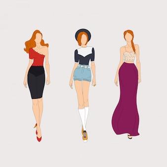 Modelos de moda de mão desenhada. conceito de ilustração.