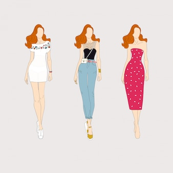 Modelos de moda de mão desenhada.