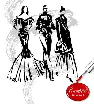 Modelos de moda esboço mão desenhada, silhuetas estilizadas isoladas. conjunto de ilustração de moda em vetor.