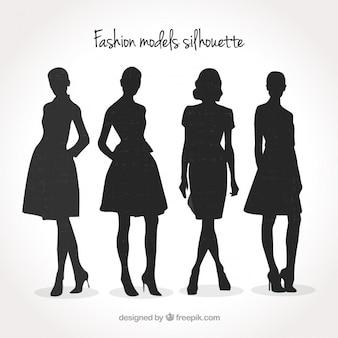 Modelos de moda pacote de silhueta