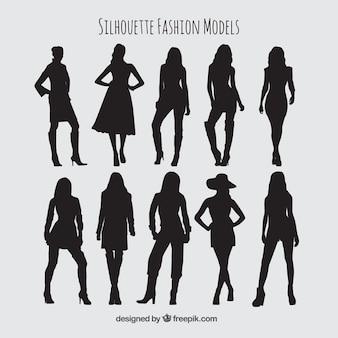 Modelos de moda silhuetas embalar
