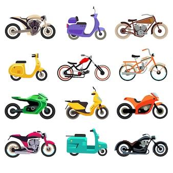 Modelos de motocicletas, scooters e ciclomotores em estilo simples.