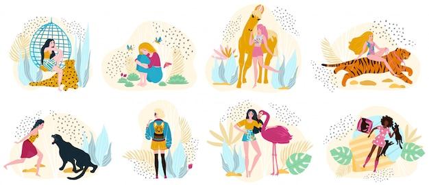Modelos de mulheres em roupas da moda com animais selvagens, ilustração