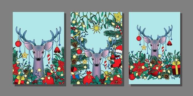 Modelos de natal e ano novo com maquetes de inverno de cervos para cartões comemorativos e capas