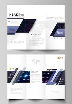 Modelos de negócios de brochura com três dobras em ambos os lados.