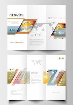 Modelos de negócios de brochura com três dobras em ambos os lados
