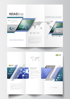 Modelos de negócios de brochura de três dobras em ambos os lados. estrutura da molécula de dna