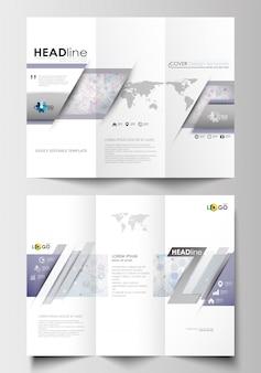 Modelos de negócios de brochura de três dobras em ambos os lados. estrutura da molécula