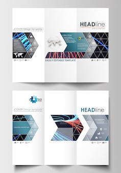 Modelos de negócios de brochura de três dobras em ambos os lados. linhas abstratas