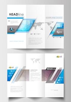 Modelos de negócios de brochura de três dobras em ambos os lados.