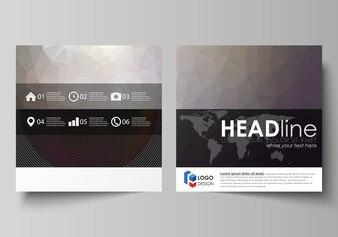 Modelos de negócios para brochura de design quadrado,