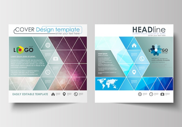 Modelos de negócios para brochura de design quadrado