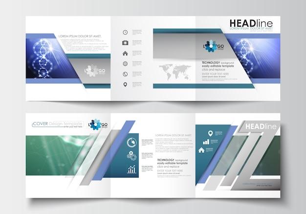 Modelos de negócios para brochuras com três dobras. estrutura da molécula de dna, fundo de ciência