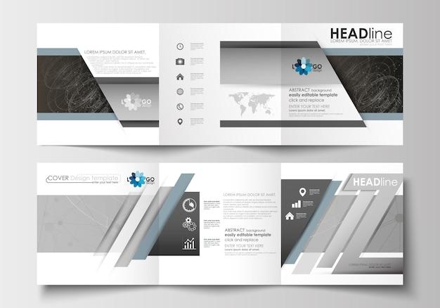 Modelos de negócios para brochuras com três dobras. tecnologia científica abstrata.