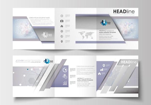 Modelos de negócios para brochuras com três dobras.