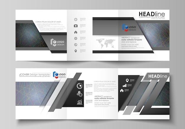 Modelos de negócios para brochuras de design quadrado tri dobra.