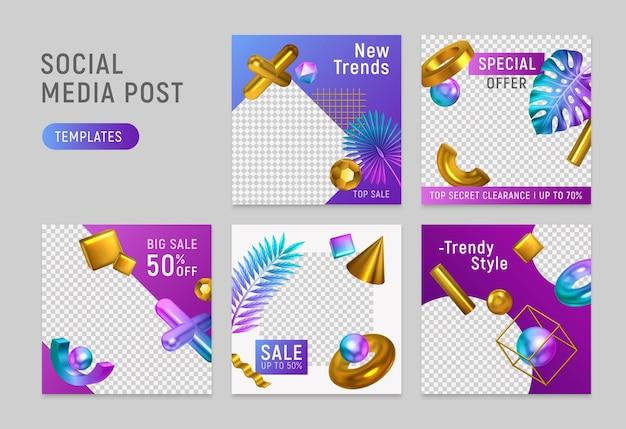 Modelos de objetos geométricos dourados brilhantes em papel medial social verificado
