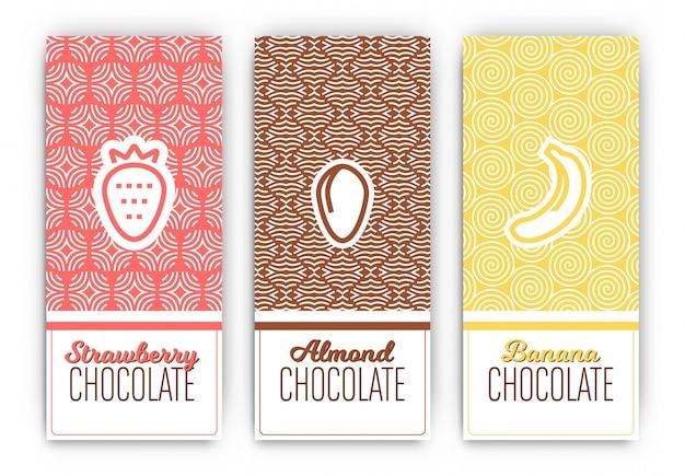 Modelos de pacotes de chocolate