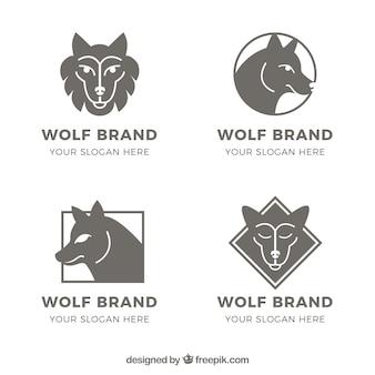 Modelos de pacotes de logotipos lobo